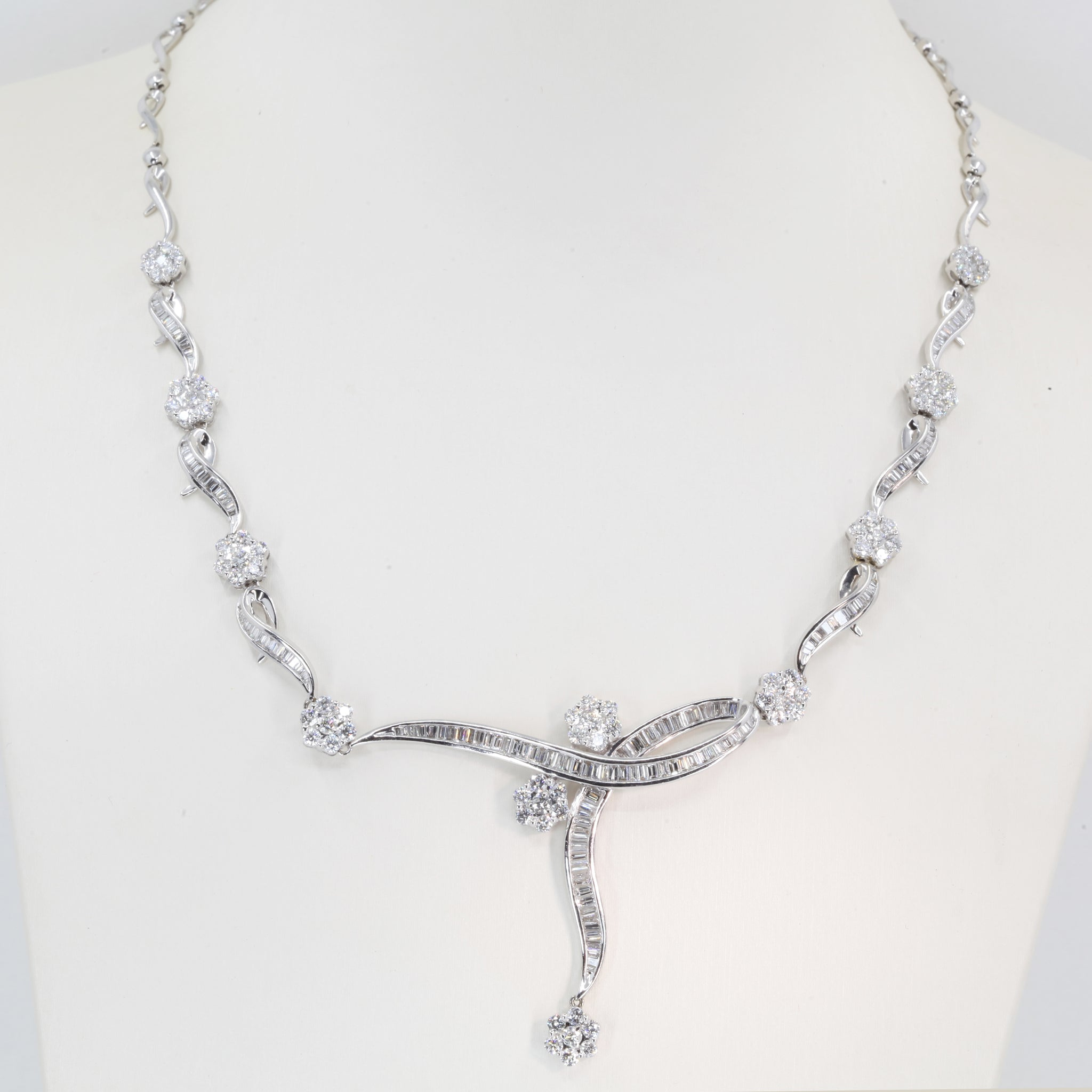 18K Solid White Gold Diamond Necklace 6.05 CT