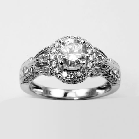 18K White Gold Women Diamond Ring CD0.89CT