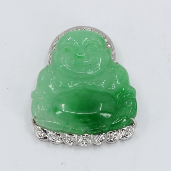 18K Solid White Gold Diamond Buddha Jade Pendant 9.2 Grams