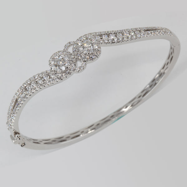 18K Solid White Gold Diamond Bangle 2.52 CT