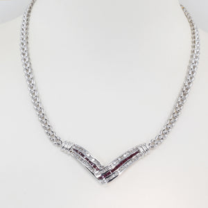 14K Solid White Gold Diamond Ruby Necklace R0.78 CT
