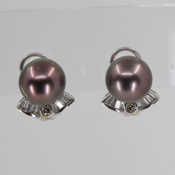 18K White Gold Diamond South Sea Black Pearl French Clip Earrings D0.38 CT