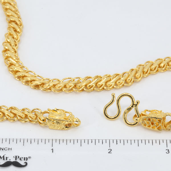 "24K Solid Yellow Gold Twin Dragon Link Chain 57.9 Grams 25"" 9999"