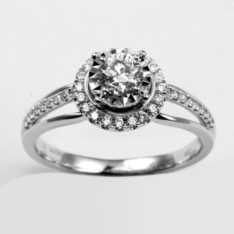 18K White Gold Women Diamond Ring D0.642CT