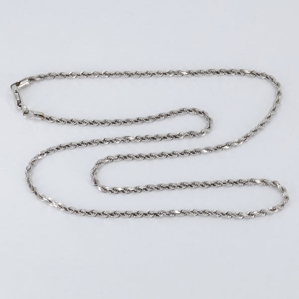 "14K Solid White Gold Rope Chain 16"" 6.9 Grams"