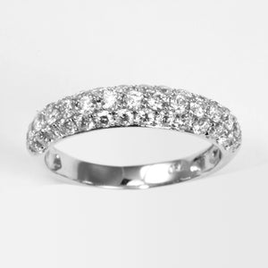 18K White Gold Women Diamond Band Ring D1.18CT