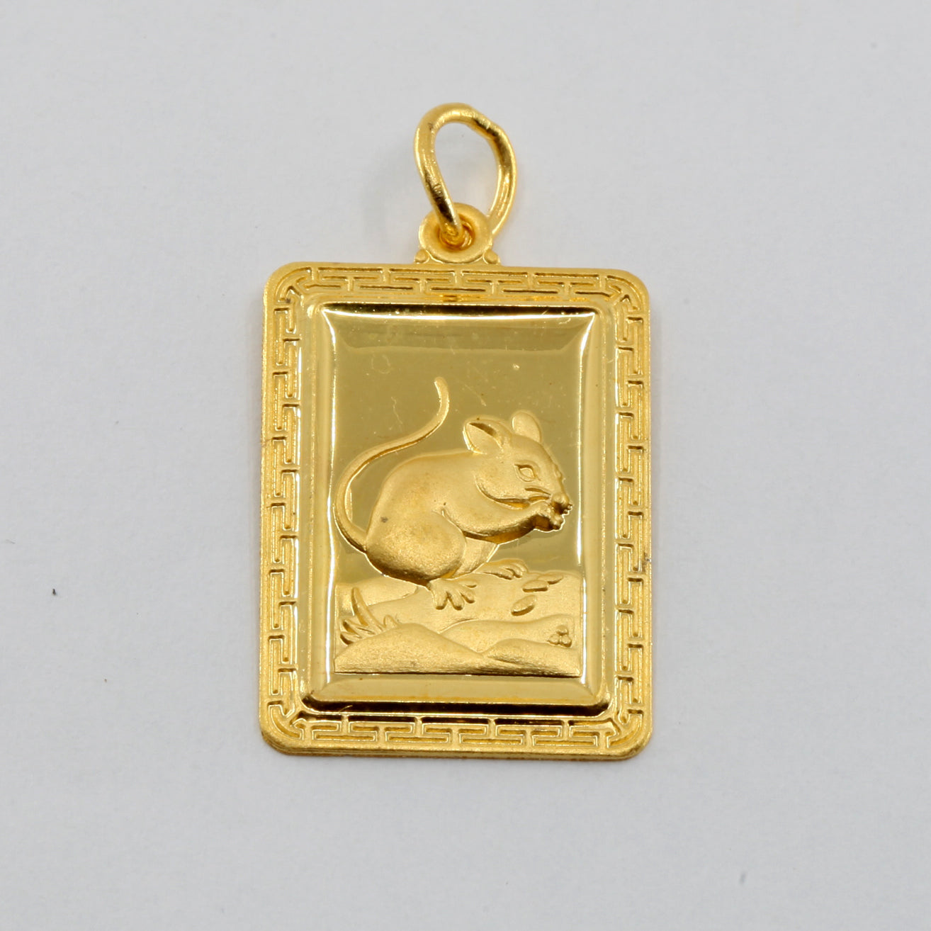 24K Solid Yellow Gold Rectangular Zodiac Rat Pendant 6.6 Grams
