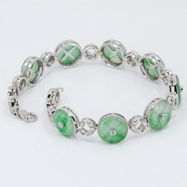 14K Solid White Gold Diamond Jade Bracelet 0.28CT