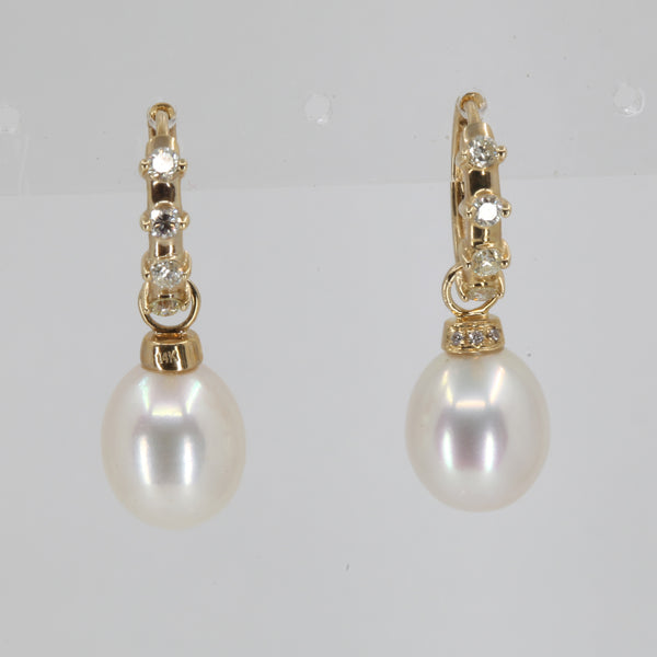 14K Yellow Gold Diamond White Pearl Hanging Earrings D0.36 CT