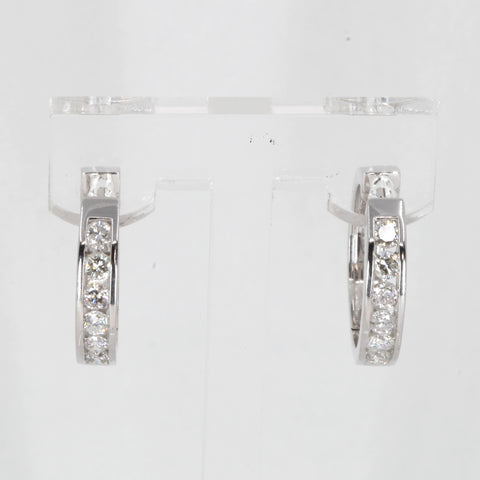 14K Solid White Gold Diamond Hoop Earrings 0.77 CT