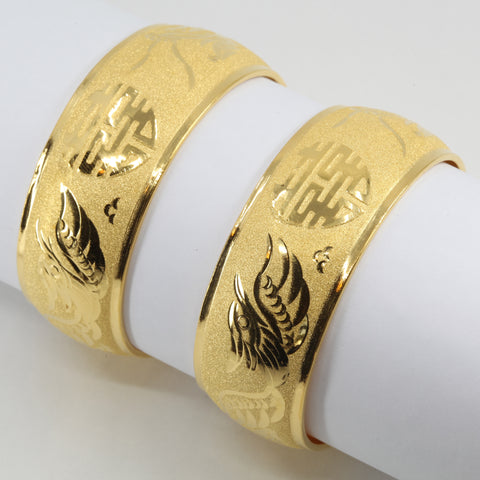 One Pair Of 24K Solid Yellow Gold Wedding Dragon Phoenix Bangles 23.7 Grams