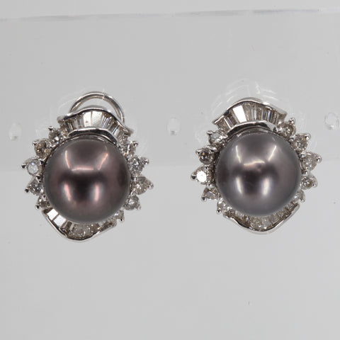 18K White Gold Diamond South Sea Black Pearl French Clip Earrings D2.20 CT