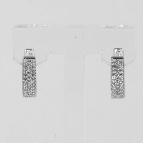 14K Solid White Gold Diamond Hoop Earrings D0.48 CT