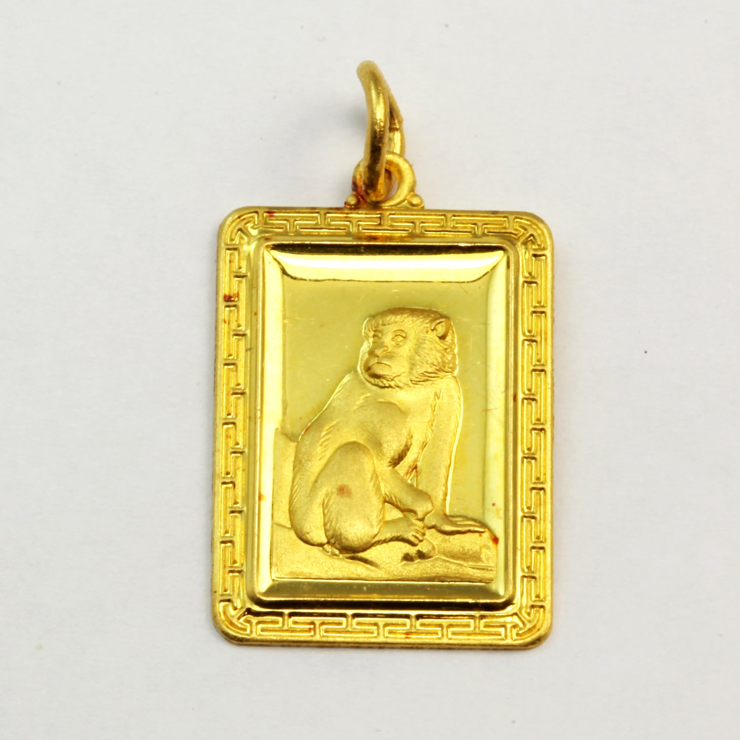 24K Solid Yellow Gold Rectangular Monkey Pendant 6.3 Grams