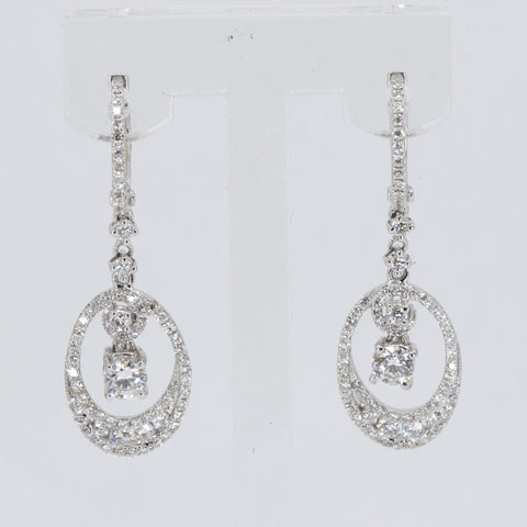 18K Solid White Gold Diamond Hanging Earrings D1.46 CT