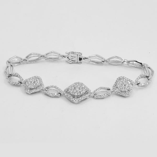 18K Solid White Gold Diamond Bracelet D2.03 CT