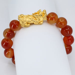 24K Solid Yellow Gold Pi Xiu Pi Yao 貔貅 Red Obsidian Bracelet 4.2 Grams
