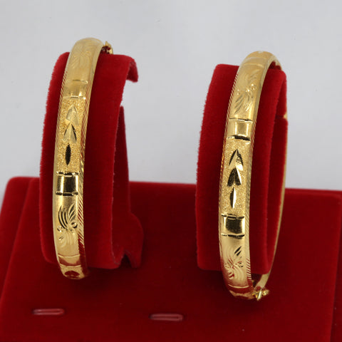 One Pair Of 24K Solid Yellow Gold Wedding Bangles 36.1 Grams