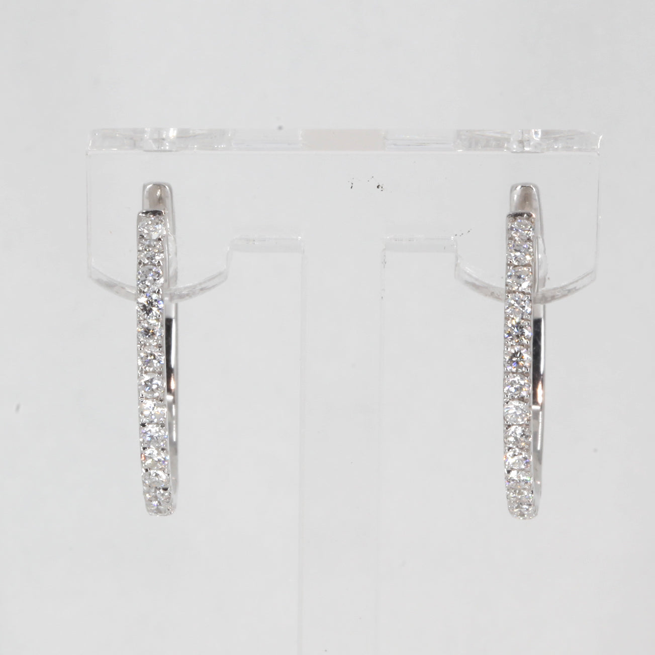 14K Solid White Gold Diamond Hoop Earrings 0.68 CT