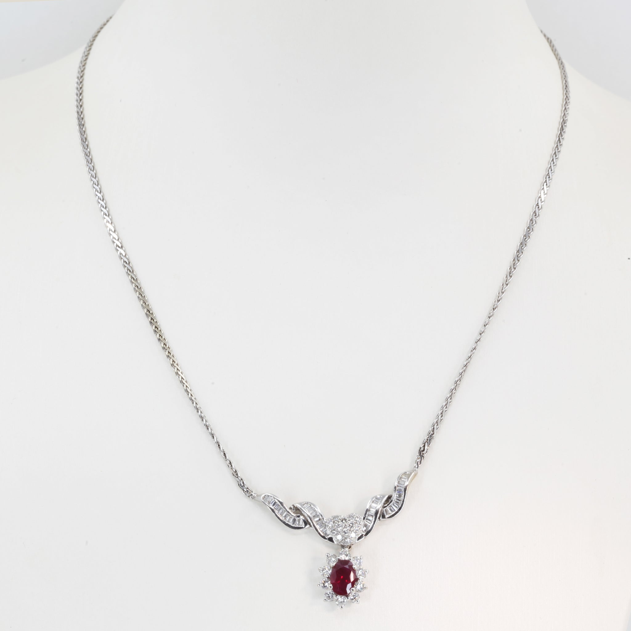 14K Solid White Gold Diamond Ruby Necklace R1.20 CT