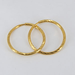24K Solid Yellow Gold Simple Hoop Earrings 3.3 Grams