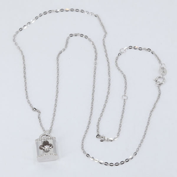 "18K Solid White Gold Round Link Chain Necklace with Diamond Pendant 18"" D0.06CT"