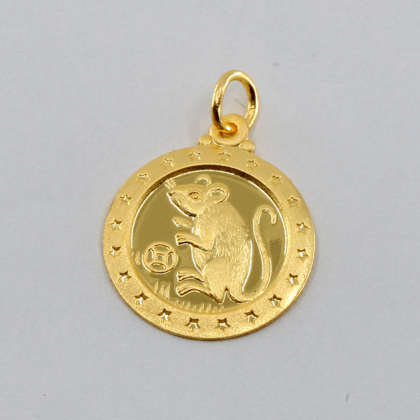 24K Solid Yellow Gold Round Zodiac Rat Pendant 2.4 Grams