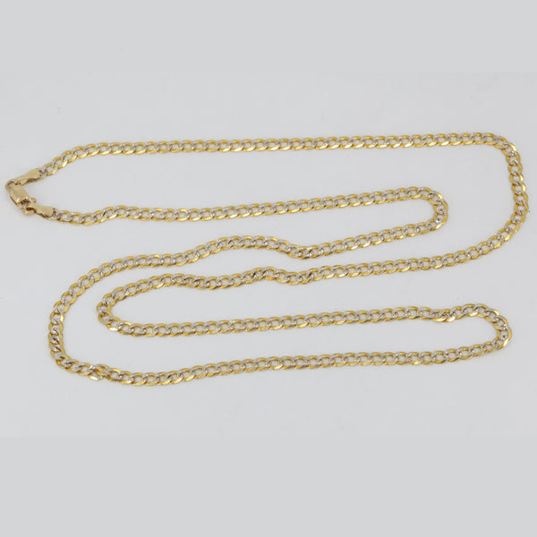 "14K Solid Yellow Gold Flat Stone Cut Cuban Link Chain 24"" 7.2 Grams"