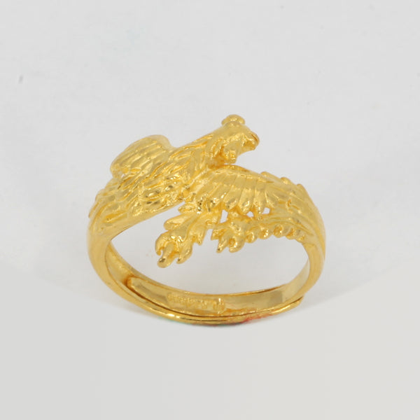 One Pair of 24K Solid Yellow Gold Dragon Phoenix Rings 13.4 Grams