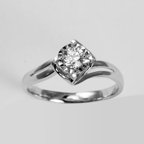 18K White Gold Women Diamond Ring D0.30CT