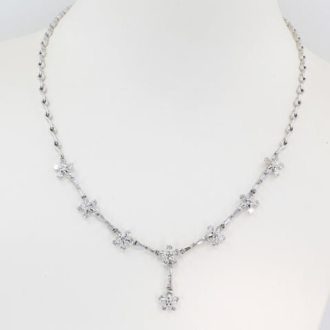 18K Solid White Gold Diamond Necklace 4.82 CT