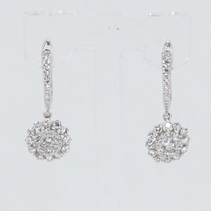 18K Solid White Gold Diamond Hanging Earrings D1.20 CT
