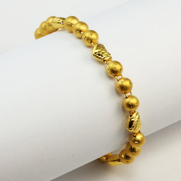 24K Solid Yellow Gold Heart And Beads Bracelet 14.1 Grams