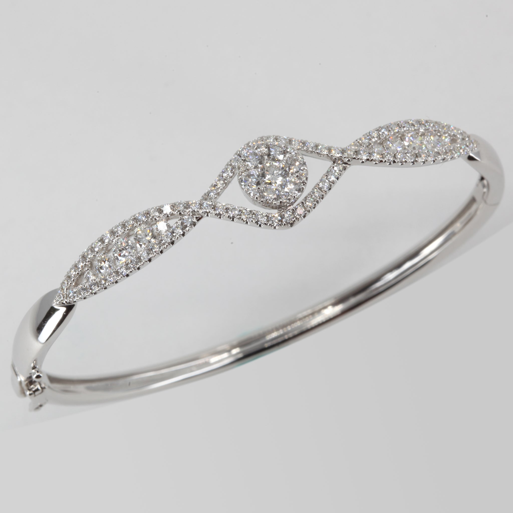 18K Solid White Gold Diamond Bangle 1.98 CT
