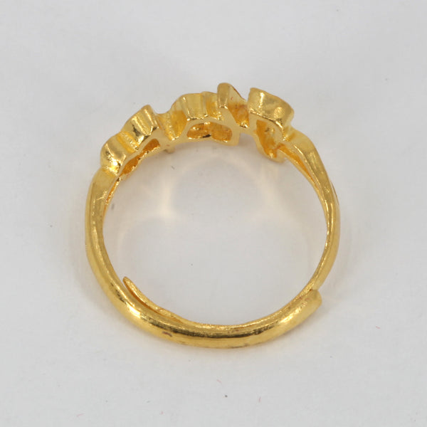 24K Solid Yellow Gold Women HOPE Ring Band 3.9 Grams