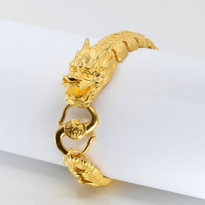 24K Solid Yellow Gold Men Dragon Bracelet 96.7 Grams