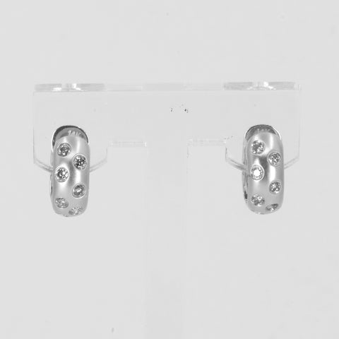 14K Solid White Gold Diamond Hoop Earrings D0.38 CT