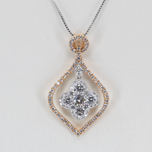 18K Solid Two Tone Rose White Gold Diamond Pendant D0.97 CT