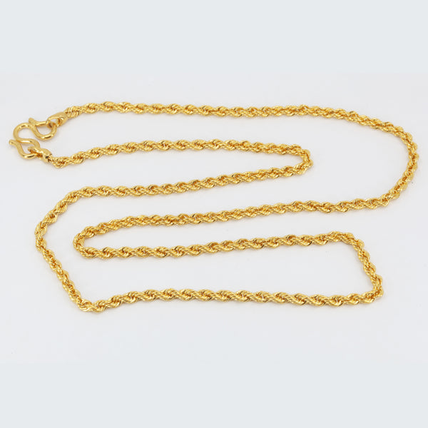 "24K Solid Yellow Gold Rope Chain 39.2 Grams 24"" 9999"