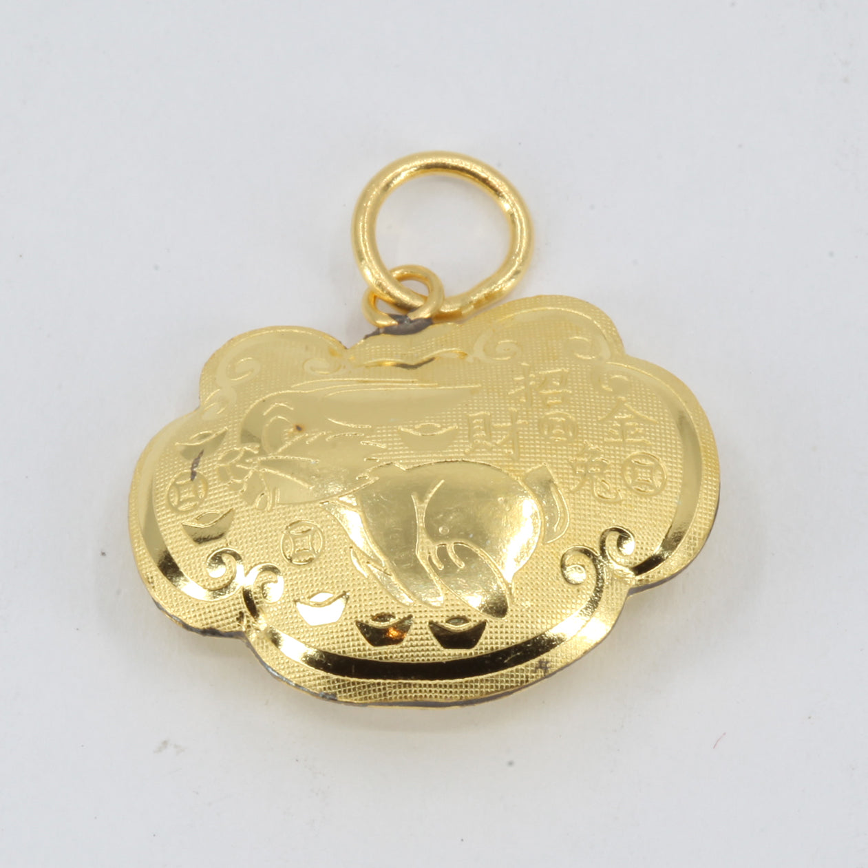 24K Solid Yellow Gold Baby Puffy Rabbit Longevity Lock Hollow Pendant 5.0 Grams
