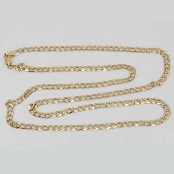 "14K Solid Yellow Gold Flat Stone Cut Cuban Link Chain 24"" 9.8 Grams"