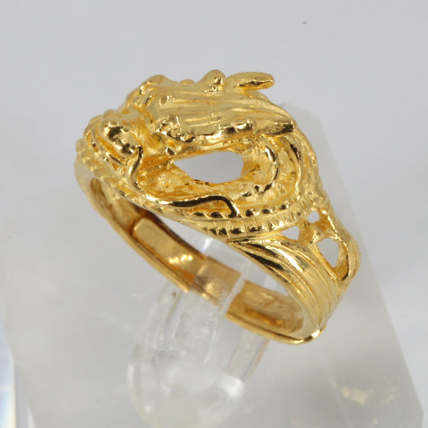 24K Solid Yellow Gold Men Women Dragon Ring Band 11.3 Grams