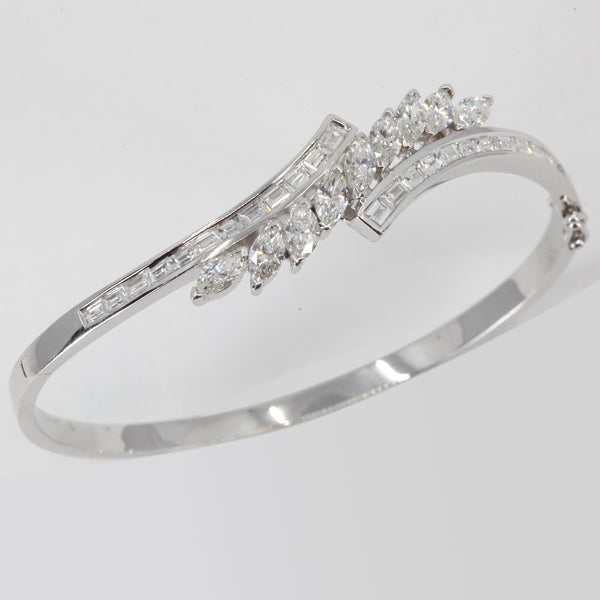 18K Solid White Gold Diamond Bangle 3.65 CT