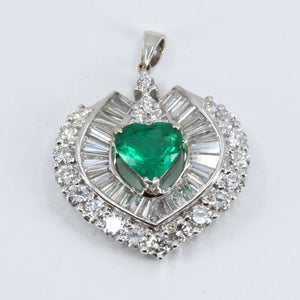 18K White Gold Diamond Emerald Heart Pendant E1.56CT D3.06CT