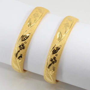 One Pair Of 24K Solid Yellow Gold Wedding Flower Bangles 20.1 Grams
