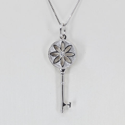 18K Solid White Gold Diamond Key Pendant D0.01 CT