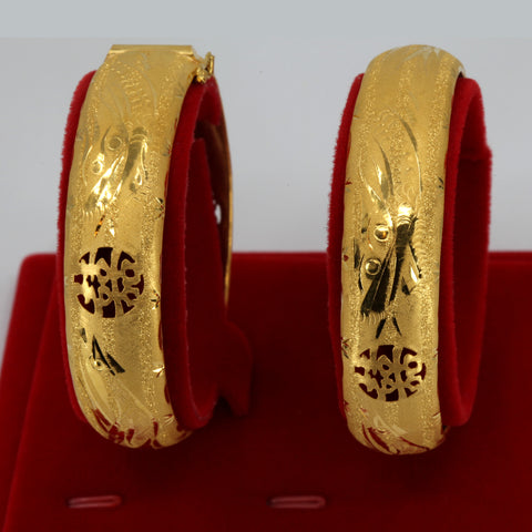 One Pair Of 24K Solid Yellow Gold Wedding Dragon Phoenix Bangles 25.5 Grams