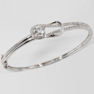 18K Solid White Gold Diamond Bangle 0.71 CT