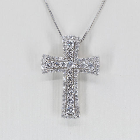 14K Solid White Gold Diamond Cross Pendant D0.92 CT