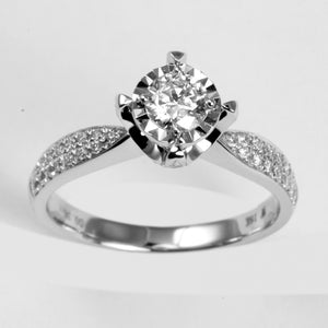 18K White Gold Women Diamond Ring CD0.36CT